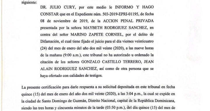 Julio Cury desmiente a Marino Zapete