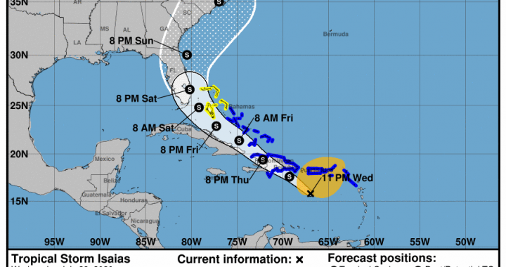 Se forma la tormenta tropical Isaías al sur de Puerto Rico